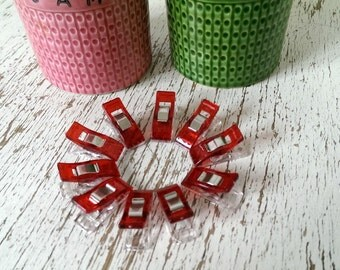 Quilting clips, red, patchwork, quilting, wonder clips, binding clips, quilting notions, pack of 10