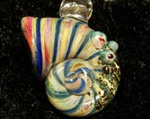 Glass nautilus shell necklace pendant... Sea shell by Erin Cartee