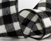 "Wired Flannel Black & White Buffalo Check Ribbon, 2.5"" wide by the yard, Wreaths, Lumberjack Party, Gift Wrapping, Party Supplies"