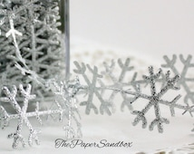 Silver Snowflakes Ribbon by the yard Christmas Ribbon, Gift Wrap, Weddings, Frozen, Costumes, Party Supplies, Trim, Sewing, Party Favors