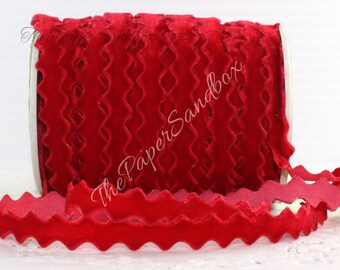 """Red Velvet Ribbon, 3/8"""" wide Ribbon by the yard, Rick Rack, Christmas Ribbon, Crafts, Sewing, Gift Wrap, Party Supplies, Ric Rac Trim"""