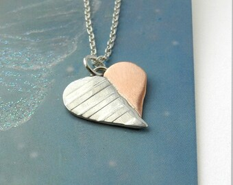 """Two as One Heart Necklace, Striped Sterling Silver Copper Pendant, 18"""" Long Chain, Mixed Metal, Heart Jewelry Gift"""
