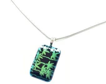 Pendant Necklace, Black with Metallic Emerald Green Leaves
