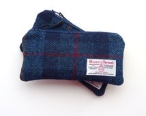 Harris Tweed Pencil Case, gadget pouch, navy blue plaid zipped pouch, padded