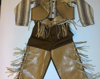Vintage Cowboy Costume Sz 6 Shirt, Pants/chaps, and Vest