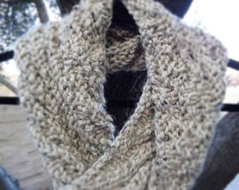 Oatmeal natural hand knit infinity cowl scarf