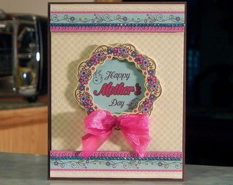 """Handmade Mother's Day Card - 6.5"""" x 5"""" - Floral Die-Cut Wreath & Ornate Borders with Turquoise Rhinestone Gems"""