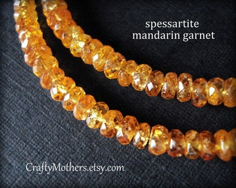 "FANTA ORANGE Spessartite Garnet Faceted Rondelles, 3.2-3.7mm, 2"" strand, Mandarin Garnet, Padparadscha orange, rare natural gemstones"