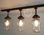 Mason Jar Track Lighting Fixture Trio With Three Vintage Quarts