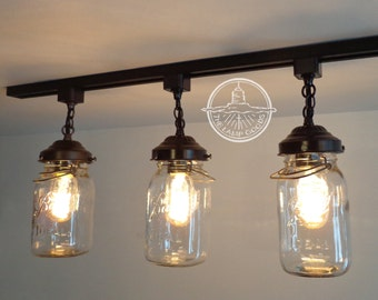Mason Jar TRACK LIGHTING Fixture Trio With Vintage Quarts - Chandelier Ceiling Pendant Light Flush Mount Kitchen Farmhouse Fan by Lamp Goods