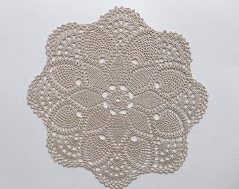 Crochet Doily Large Beige Cotton Lace Table Topper with Star Center Pineapple Motif and Large Fans Heirloom Quality