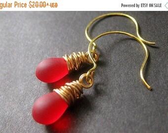 HALLOWEEN SALE Red Earrings: Teardrop Earrings Wire Wrapped in Gold - Elixir of Roses. Handmade Earrings.