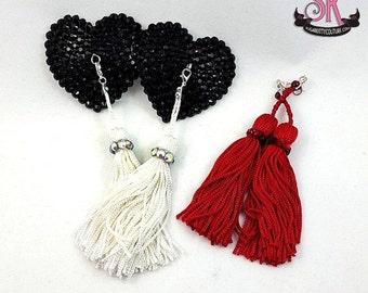 ON SALE RTW Black Heart Removable Tassel Rhinestone Nipple Pasties - Size S - SugarKitty Couture
