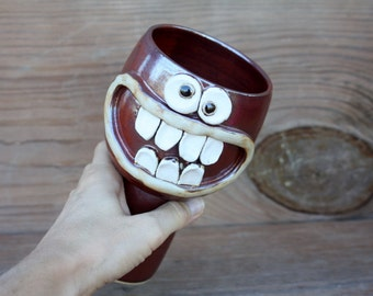 Ceramic Pottery Goblet. Wine Lover's Wine Glass. 16 Ounces. Stoneware Clay Chalice. Rustic Cinnamon Red. Nelson Studio Ug Chug.
