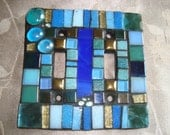 MOSAIC LIGHT SWITCH Plate Cover - Double, Shades of Blue and Green, Wall Art, Boho