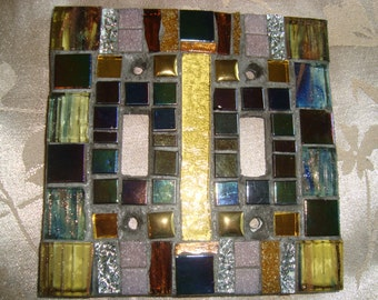 MOSAIC LIGHT SWITCH Plate Cover - Double, Earth Tones, Amber, Wall Art, Boho, Wall Plate