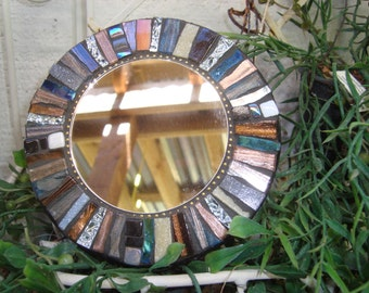 MOSAIC MIRROR, Accent Mirror, Small Round Mirror, Wall Art, Wall Hanging, Multicolor