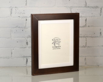 10x12 Picture Frame in Outside Cove Style matted to fit an 8x10 with Vintage Dark Wood Tone Finish - Can be Any Color of Your Choice