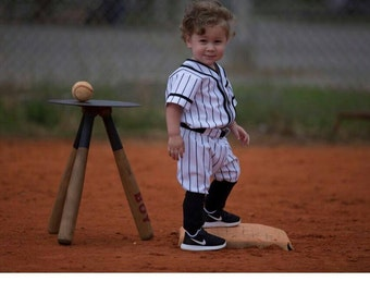 Baseball Uniforms Pinstripes  for Photo Prop Or dress up, 3 piece,  Made to Order in Children's sizes.  sizes larger than 6 are higher
