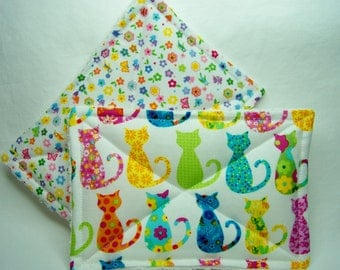 Nodda Sponge in Calico Cats in White - Sponge Set - Dish Cloth - Cleaning Cloth - Eco Friendly - Ready To Ship