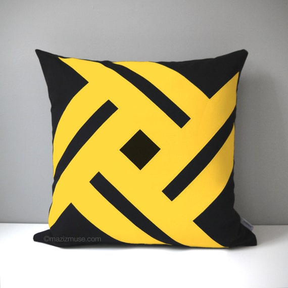 Black White And Yellow Decorative Pillows : Black & Yellow Outdoor Pillow Cover Decorative Geometric