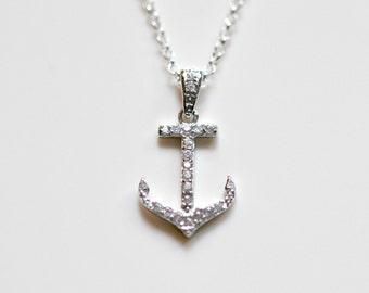 Diamond anchor etsy diamond anchor necklace sterling silver cubic zirconia anchor pendant crystal anchor charm aloadofball Choice Image