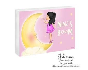 Baby Girl Name Sign Nursery personalized sign newborn baby shower gift  Girl and Moon Door Decor Kids room door sign custom name door hanger