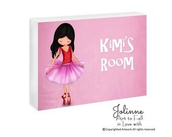 Personalized kids sign, ballerina door plaque, girls room decor, nursery pink door sign, custom name sign,ballet dancer art room decoration