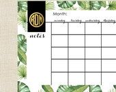 Calendar for Desk - Monthly Planner in BANANA LEAF Collection with Monogram by A Blissful Nest