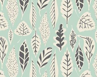 Hello Bear Art Gallery Fabric Leaf Foliage Deco Leaves Eucalyptus Leaflet Charcoal Gray Cream and Mint Aqua Blue