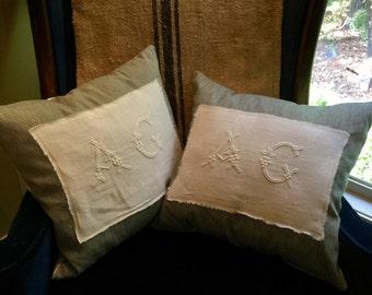 Vintage Monogrammed A C Pillows Pair Ticking Linen