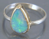 Sterling Silver and Solid 14k Gold Opal Ring - Size 5.5 Ring - Freeform Australian Opal Jewelry - Beautiful Natural Jewelry