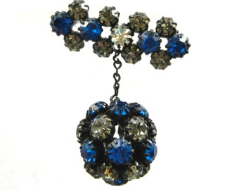 1950s Black Diamond  & Blue Cobalt Rhinestone set in Japanned Metal dangle ball  Brooch - unsigned Regency brooch - art.421s -