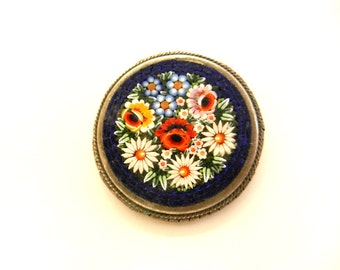 Italian Micro Mosaic antique Treasure of best Florentine Artistic Work - 1950s flowering garden Round brooch Alpacca signed ---Art.350/4 -
