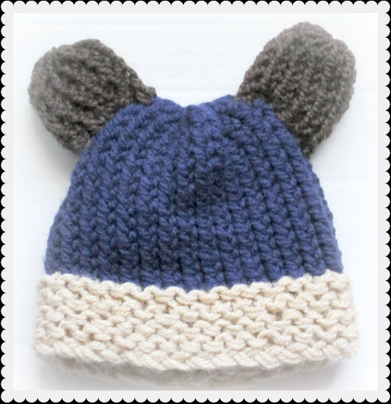Loom Knitting Baby Hat Patterns : Baby bear hat loom knit pattern from kyoticrafts on etsy