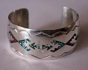 Navajo Silver Bracelet Gibson Gene Inlaid Cuff