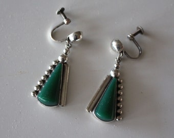 Mexican Silver Earrings Green Stone