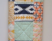 Baby Quilt-Aztec-Tribal-Southwestern-Arrows-Feathers-Mint-Navy Crib Bedding-Arizona Baby Blanket