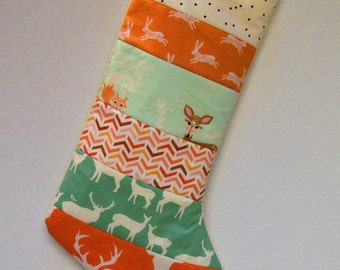 Quilted Christmas Stocking-Rustic Woodland-Deer-Buck-Antler-Mint and Coral-Homemade Stockings