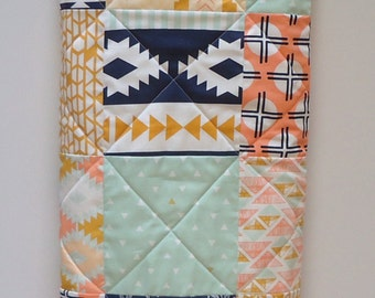 Tribal Baby Quilt- Aztec Southwestern-Arrows-Feathers-Mint-Navy Baby Bedding-Arizona Baby Blanket