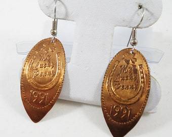 1991 My Lucky Penny Pressed Penny Vintage Earrings