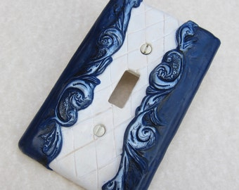 Light Switch Plate Cover, Choose Single or Double, Toggle or Rocker- Blue and White Kitchen Bath Decor, French Country, Victorian