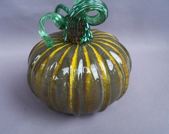 Glass Pumpkin,Art Glass, Hand Blown, Curly Stem