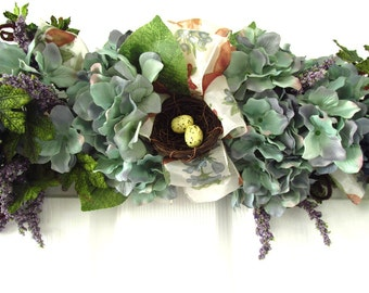 Floral Swag / Floral Swag Birds Nest / Purple And Blue Hydrangea Swag / Hydrangea Wreath / Thirty Three Inch Floral Swag