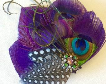 PLUM Purple Bridal Fascinator Perfect for a Fall Bride or Bridesmaids