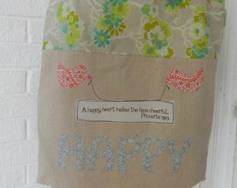 CLEARANCE:  18 was 28!  Happy Heart Tote Bag, book bag, pool bag, craft bag, church bag