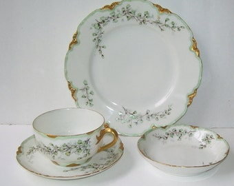 Haviland H.& G. France, 4 Piece Hand Painted Porcelain Dessert Set, French Artist, Fancy Dishes, Fancy French Dishes, Gift