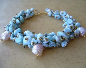 Larimar Druzy Pearl Mixed Metal Gold Wire Wrapped Cluster Bracelet