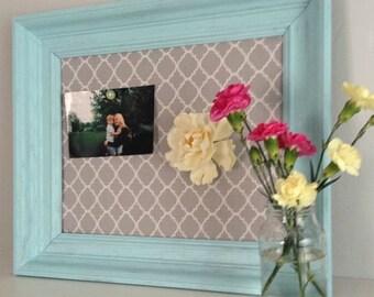 Fabric Memoboard Vintage Framed Seaglass Turquoise Blue Green or You Choose Color Magnetboard Gray Quatrefoil (Item Number BL116)