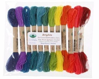 Valdani 100% Australian Virgin Wool Thread Collection Size 8 Thread 12 Brights